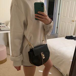 Black Designer Italian Leather Crossbody Bag